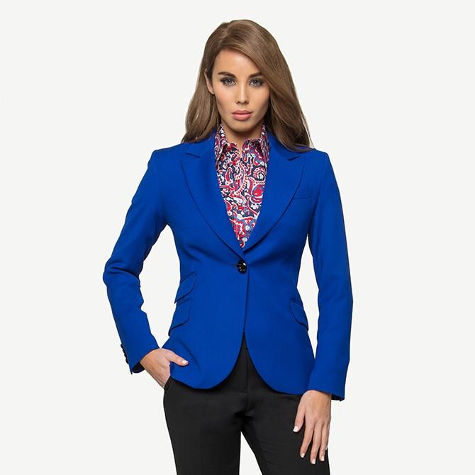Cobalt Crepe Jacket